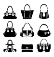 Icons of female bags vector image vector image