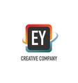 initial letter ey swoosh creative design logo vector image vector image
