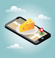 isometric city food delivering cheese shop vector image