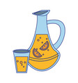 lemonade juice and cup blue lines vector image vector image