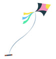 man on beach having fun with kite isolated person vector image