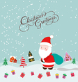 Merry christmas with santa claus and gift vector image vector image