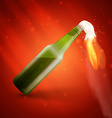 Molotov cocktail bomb on red background vector image