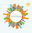 montreal skyline with color buildings blue sky vector image vector image
