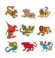 mythical creature mascot set vector image