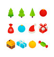 new year isometric set vector image vector image