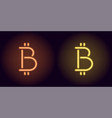 orange and yellow neon bitcoin sign vector image vector image