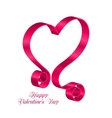 Pink Tape Ribbon in Form Heart for Happy vector image vector image