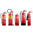 realistic fire extinguisher set isolated vector image