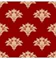 Red and beige floral seamless patern vector image