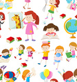 Seamless background with children reading and vector image vector image