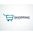 Shopping logo design made of color pieces vector image