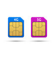 sim cards 4g and 5g vector image vector image