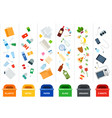 sorting garbage in containers for processing vector image vector image