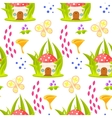 Spring forest mushroom house seamless pattern vector image vector image