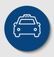 taxi sign white contour icon vector image vector image