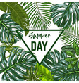 triangle banner with realistic tropical leaves vector image vector image