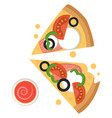 two slices pizza with mozzarellaprint vector image vector image