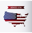 United states of america flag and map design vector image vector image