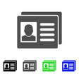 user account cards flat icon vector image vector image