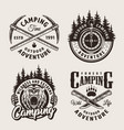 vintage monochrome camping summer labels vector image vector image
