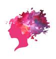 watercolor profile of a woman vector image