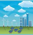 Wind turbine solar energy panel renewable station vector image