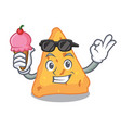 with ice cream nachos character cartoon style vector image