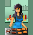 woman flipping burgers vector image
