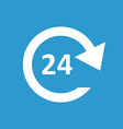 24 hours service icon white on the blue background vector image