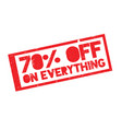 70 off on everything rubber stamp vector image vector image