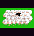 a flock of white sheep with a blac vector image vector image