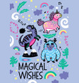 adorable print in the childish style with unicorn vector image vector image
