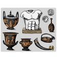 ancient greece antique symbols greek coins vector image vector image