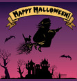 background with flying old witch silhouette vector image