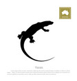 black silhouette of varan animals of australia vector image vector image