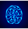 Brain from blue neon lines background vector image vector image