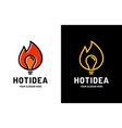 brainstorming fire creative idea logo design vector image