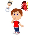 Cartoon boy confuse on choice between good and evi vector image vector image