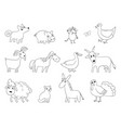 cartoon farm animals domestic bool horse sheep vector image