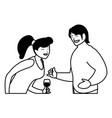 cartoon happy couple vector image