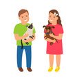 children with pets vector image vector image