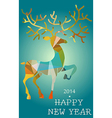 Christmas and New Year deer abstract card vector image