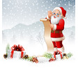 christmas background with santa claus reading a lo vector image vector image