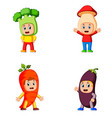 collection of the children using the vegetable vector image vector image