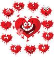 coronavirus heart cartoon with many vector image vector image