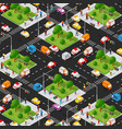 crossroad road isometric 3d city street with cars vector image