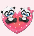 cute pandas is sitting on a heart vector image vector image