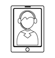 electronic device with avatar man on the screen vector image vector image