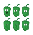 Emotion cartoon green pepper vegetables set 005 vector image vector image